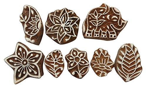 Dekorative handgeschnitzte Printing Block Muster Textile Holz Stempel Lot von 8 Stück