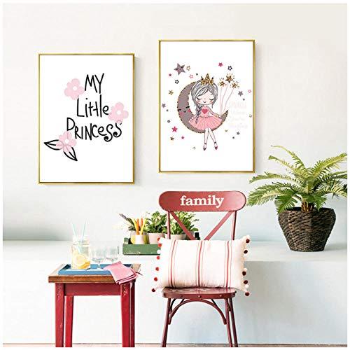 Niñas lienzo nórdico bebé niña habitación cartel de dibujos animados princesa lienzo nórdico vivero imprime cuadros de pared para dormitorio / 40x50cmx2 piezas-sin marco