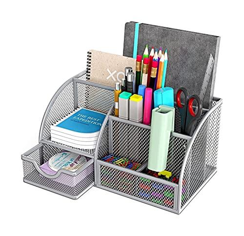Mesh Desktop Organizer Per Ufficio Forniture per ufficio Multi-funzionale Accessori da scrivania Metallo Stazionario Stazionario + 90 pezzi Clip di carta in metallo Clip a colori Utilizzato per fornit