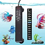 VIBIRIT Aquarium Heater,Betta Fish Tank Heater 25W Smart Small Aquarium Heater,Energy Efficient Submersible Thermostat + Thermometer Sticker