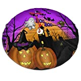 Mount Hour Christmas Tree Skirt, Halloween Scary Night Pumpkin Lanterns and Ghost Owl Bat Castle Xmas Large Tree Mat, New Year Festive Holiday Party Decorations 30' inches