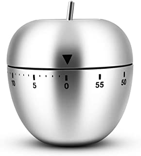 Egg/Apple/UFO Kitchen Timer Cute, Stainless Steel Metal Mechanical Visual Countdown Cooking Timer with Loud Alarm for Kitc...