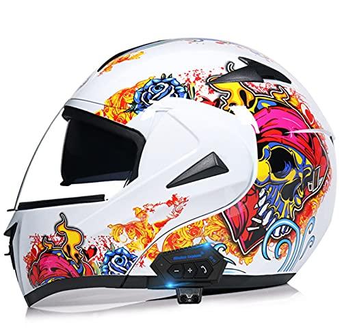 Sebasty Casco de Moto Modular Bluetooth Integrado con un Micrófono Incorporado Visera Doble ECE/Dot Homologado Adultos Hombres Mujeres Cascos de Motocross 40,S