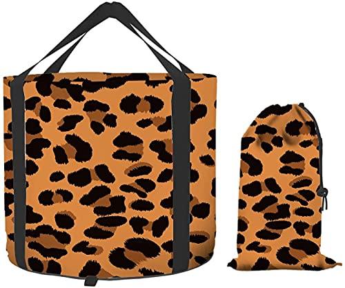 Cubo plegable de piel de leopardo, Jaguar Cheetah Animal Print marrón oscuro portátil plegable contenedor de agua para acampar senderismo pesca