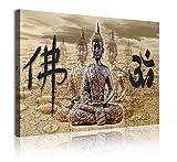 DekoArte 323 - Cuadros Modernos Impresión de Imagen Artística Digitalizada | Lienzo Decorativo para Tu Salón o Dormitorio | Estilo Zen Feng Shui con Buda y Letras Chinas | 1 Pieza 120 x 80 cm