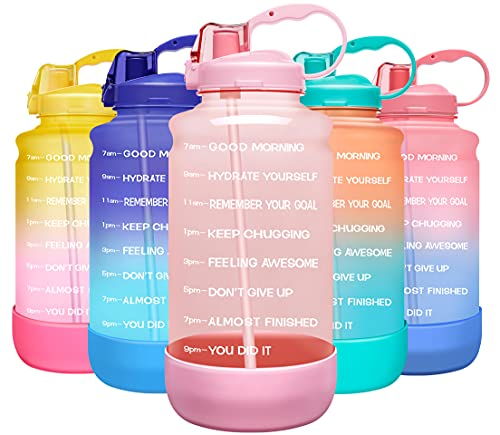 Elvira Large 1 Gallon/128 oz Motivational Time Marker Water Bottle with Straw & Protective Silicone Boot, BPA Free Anti-slip Leakproof for Fitness, Gym and Outdoor Sports-Light Pink