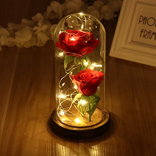 Ledmomo Rote Rose aus Kunstseide, LED-Licht, mit herabfallenden Blütenblättern, in einer Glaskuppel, Holzsockel, Valentinstagsgeschenk, Geburtstag, Hochzeit, zwei Rosen