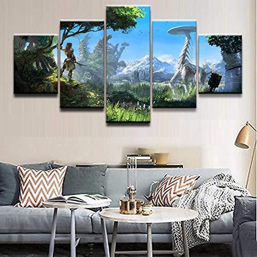 Wandkunst Poster Malerei Modulare Bilder Für Wohnzimmer Dekorative Bilder Leinwand Gedruckt 5 Panel Game Horizon Zero Dawn Draw + 5 Panel Cartoon Spiel Charakter Wandkunst Poster Malerei Modulare