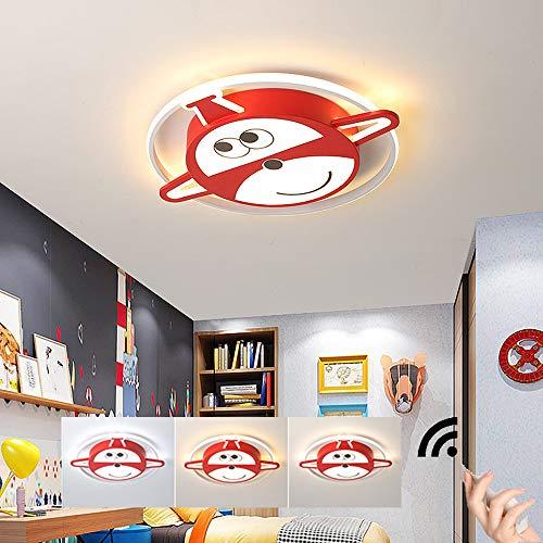 HIL Super Vliegende Man Kinderkamerlamp Roze Cartoon Vliegtuig Led Plafondlamp Dimbaar Met Afstandsbediening Meisje Jongen Slaapkamer Plafondlamp Creativiteit Smeedijzer Acryl Lampen,40 * 6cm/30w