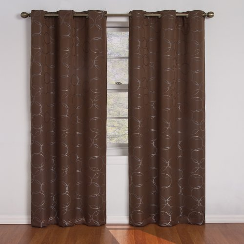 ECLIPSE Meridian 100% Blackout Circle Geometric Window Curtains for Bedroom (Single Panel), 42' x 84', Chocolate