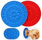 KOLAKO Tappetini da leccare per Cani, Dispositivo di distrazione per Il Bagno degli Animali Domestici, Cuscinetto da leccare in Silicone, tampone da leccare al Burro di Arachidi, 2 Pezzi Blu e Rosso
