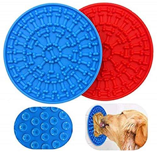 Alfombrillas para lamer para perros, dispositivo de distracción para el baño de mascotas, almohadilla para lamer de silicona, almohadilla para lamer con mantequilla de maní, 2 piezas azul y rojo