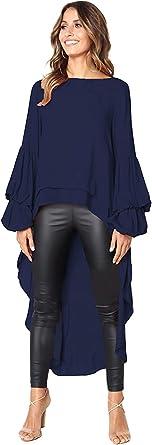 Landove Camisas Asimetricas Mujer Blusa Gasa Manga Larga con Volante