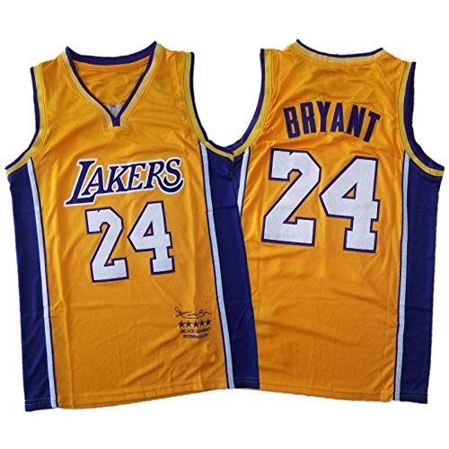 DTKJ Bryant Lakers Men's Jersey, 8#24 The Black Mamba Commemorative Basketball Jersey Vest, Youth Fan Edition Vest Outdoor Quick-Drying Breathable Sportswear XL yellow24