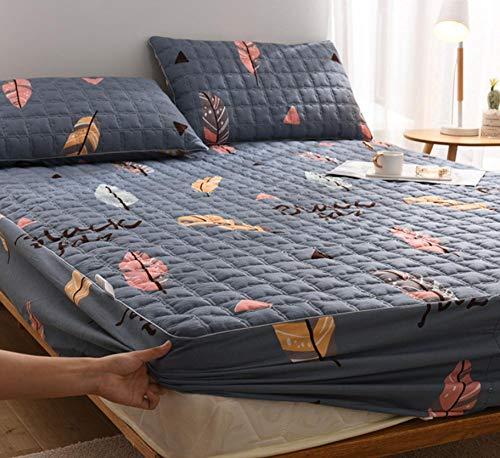 XLMHZP Sábana Ajustable Acolchada Gruesa Sábana de Cama Funda de colchón Sábanas elásticas Impresión cómoda Única Full Queen King-I_120x200cm + 40cm