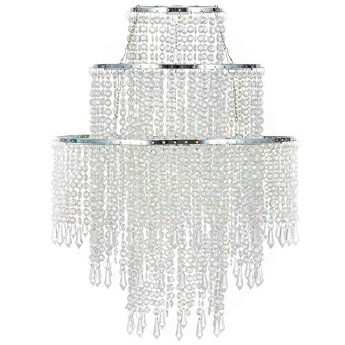 WanEway Grande Lampadario a 3 livelli trasparente paralume con perline pendenti, Lampadario ricoperto di perline con telaio cromato e perline a goccia, diametro 32cm, trasparente