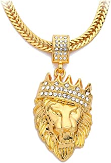 Real 18K Gold Plated Chain Men Hip Hop Hiphop Lion King Crown Necklaces