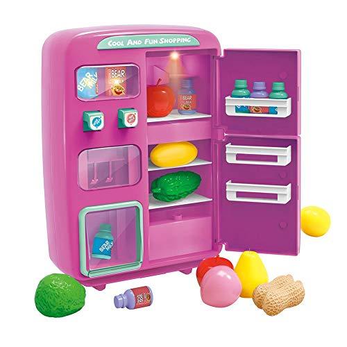 Nevera de juguete para niños, Mini simulador de simulación eléctrica con juego de alimentos Play, Máquina expendedora Play House Toy para agua real   Iluminación   Función de timbre