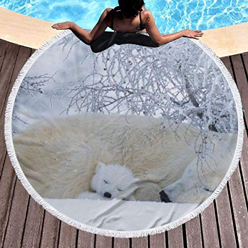 Toalla de playa redonda, Winter White Bear Hippie Happy Youth Towel Extra Large Sand Proof Blanket Yoga Mat con borlas 59inch