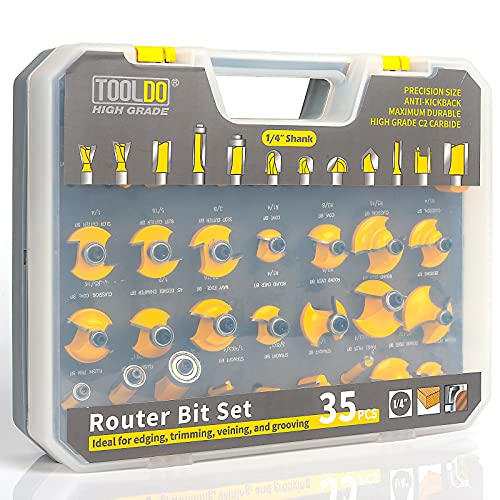 TOOLDO Router Bit Set 35 Pcs 1/4 inch Shank, Professional Router Bit Kit for DIY, Woodworking Project, High Grade