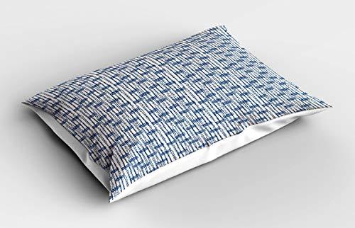 ABAKUHAUS Étnico Funda de Almohada, Desordenado Ondas Triángulos, Decorativa de Suave Microfibra Estampada Lavable, 80 cm x 40 cm, Azul Marino y Crema
