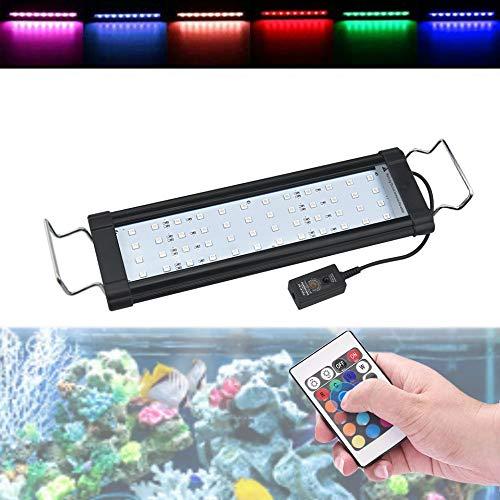 Luxvista 8W 29CM LED RGB Luz del Acuario, Lámpara Iluminación Muticolor con Control Remoto de Soporte Ajustable para el Crecimiento de...