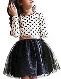 NNJXD Fille Polka Robe plissée à Volants Multicouches plissée Taille130 (5-6 Ans) 218 Blanc-A