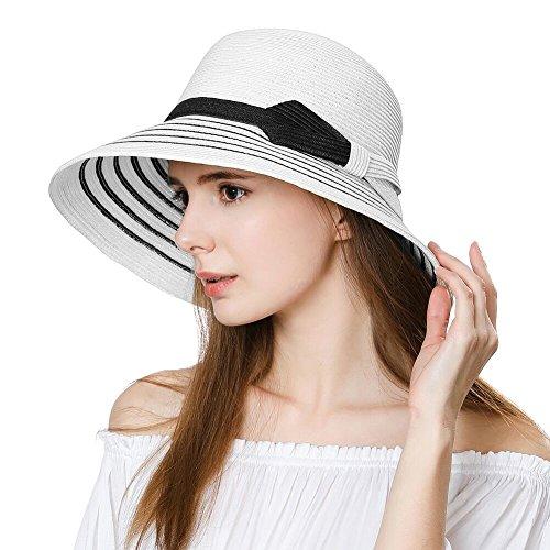 Comhats Damen Strohhut breite Krempe Faltbarer Sommerhut mit Kinnriemen UPF 50 Weiß