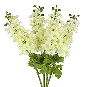 DZX 4PCS Artificial Flowers Fake Silk Antirrhinum Flowers Bouquet Faux Long Stem Delphinium Floral Arrangements Greenery for Table Kitchen Home Garden Party Wedding Decoration Milky White,Weddi