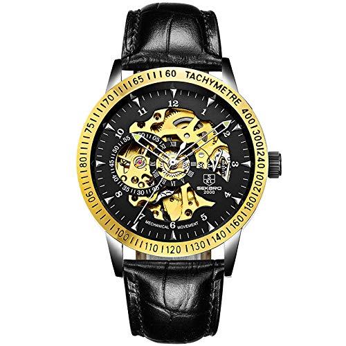 Reloj mecánico automático Impermeable con Fecha de Acero Inoxidable para Hombre -D
