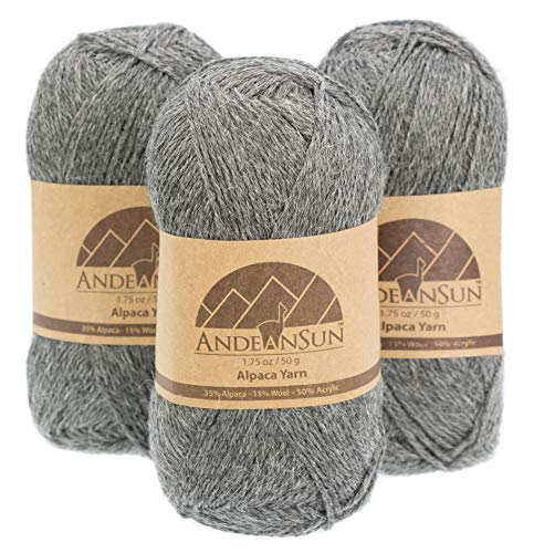 (Set of 3) Alpaca Yarn Blend UMAYO Fingering #2 (5.29 Ounces/150 Grams Total) Lovely and Soft to Enjoy Knitting - Crocheting - Weaving (Grey)