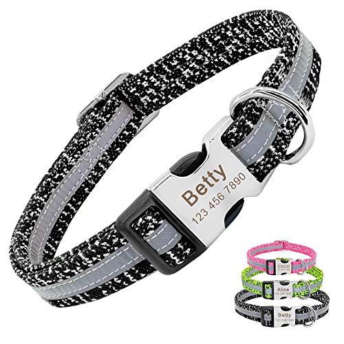 147/5000 PET ARTIST Anpassbares Hundehalsband reflektierender Name graviertes Hundehalsband Französische Bulldogge, Mops, Pudel, Boxer, Deutscher Schäferhund, grau, M (32,5-59,5 cm)