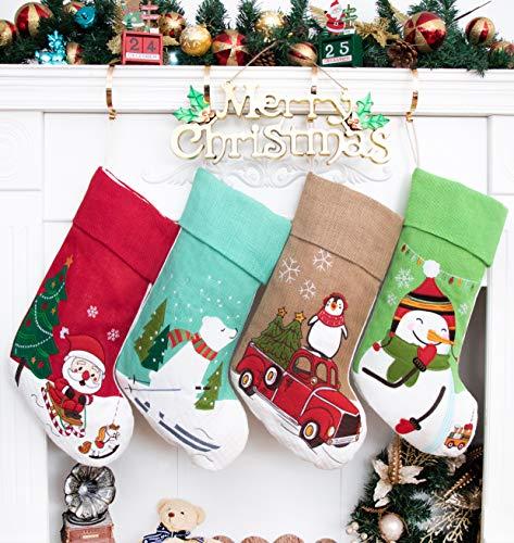 Beyond Your Thoughts Nikolausstrumpf Weihnachtsstrumpf Deko Kamin Christmas Stockings Nikolausstiefel zum befüllen und aufhängen groß Ideale Weihnachtsdekoration Weihnachtsmann