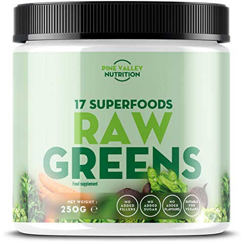 Raw Greens – Ultimate Natural Blend with 17 Premium Superfoods and Vegetables - Vegan Super Greens Powder Including Green Tea, Spirulina, Ginger Root & Pea Protein (50 Servings, 250g)