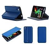 XEPTIO Etui Wiko Rainbow UP 4g Bleu Ultra Slim Cuir Style avec Stand - Housse Folio...