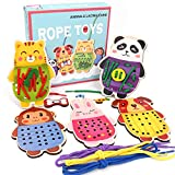 Sealive Wooden Animals Lacing Cards for Toddlers, 5 Wooden Panels and...