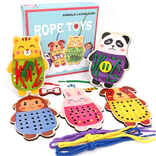 Sealive Wooden Animals Lacing Cards for Toddlers, 5 Wooden...