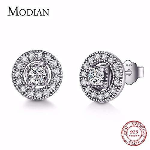 MUATE Modian clásico sólido 925 Pendientes de Plata esterlina Vintage Stud Pendiente Instagram joyería para Mujeres