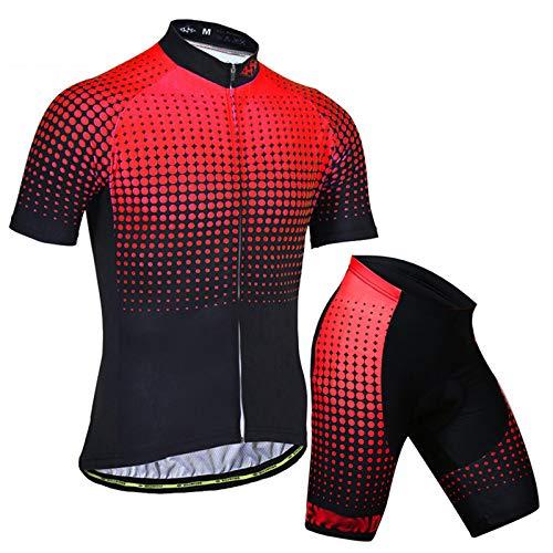 GLZTY Ropa de Ciclismo para Hombre Manga Corta Transpirable + Pantalones Cortos Acolchados Traje de Ropa de Bicicleta de Montaña para MTB, Spinning, Bicicleta