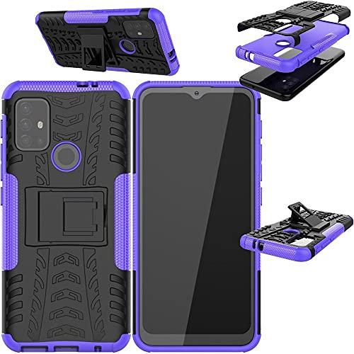 Wigento Für Motorola Moto G30 / G10 Hybrid Hülle 2teilig Outdoor Schwarz/Lila Handy Tasche Hülle Cover Schutz
