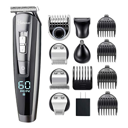 Hatteker Hair Clipper Beard Trimmer Kit for Men Cordless Hair Mustache Trimmer Hair Cutting Groomer...