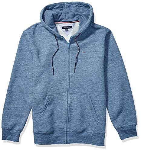 Tommy Hilfiger mens Full Zip Hoodie Sweatshirt, Fleet Blue Heather, XX-Large US