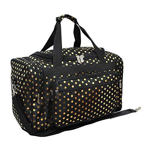 Black Gold Polka Dot NGIL Canvas 20' Duffle Bag
