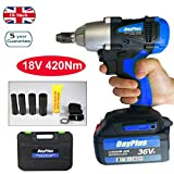 18V Electric Impact Wrench 1/2 inch Square Drive Wrench Tool with...