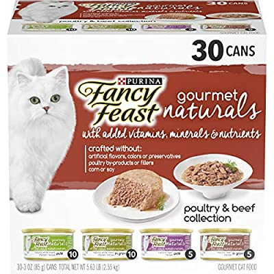 Purina Fancy Feast Natural Wet Cat Food Variety Pack, Gourmet Naturals Poultry & Beef Collection - (30) 3 oz. Cans