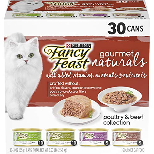 Purina Fancy Feast Natural Wet Cat Food Variety Pack, Gourmet Naturals Poultry & Beef Collection - (30) 3 oz. Cans, Natural Poultry & Beef