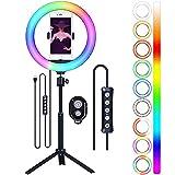 Anillo de luz con trípode y soporte para teléfono, 10 pulgadas, anillo de selfie para vídeo, maquillaje, transmisión en directo, Ticttok, luz LED regulable con mando a distancia y mando a distancia