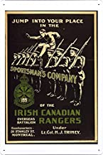 World War I One Tin Sign Metal Poster (reproduction) of Jump into your place in the Sportsman's Company of the Irish Canadian Rangers