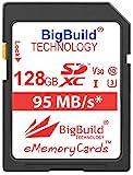 BigBuild Technology - Tarjeta de memoria para Canon EOS 1200D, 1300D, 2000D, 4000D, 5DS, 5DS R, 77D, 800D, 9000D, 5D Mark IV, 6D Mark II, M100, M3, M5, M50, M6, R (128 GB, UHS-I U3) Cámara