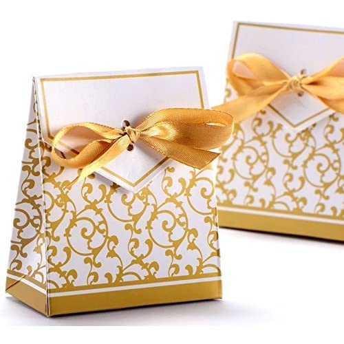 100pcs Wedding Favour Candy Boxes Gift Boxes,Golden Pattern Square,Silver Pattern Square (Gold)